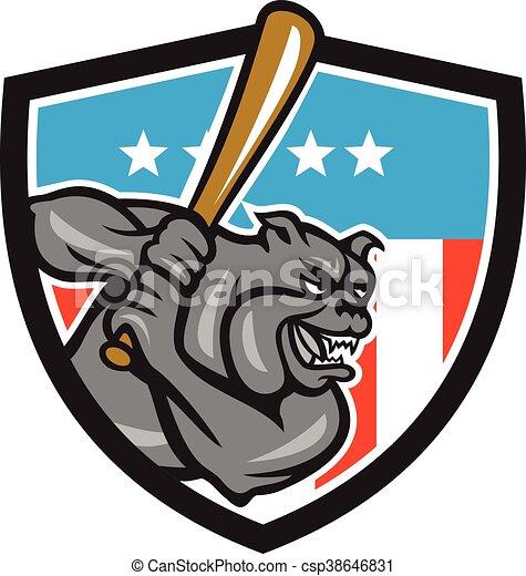 Bulldog Baseball Batting USA Crest Cartoon - csp38646831