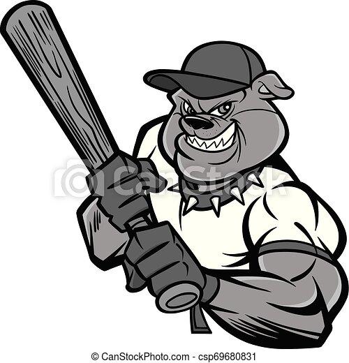 Bulldog Baseball Player Illustration - csp69680831