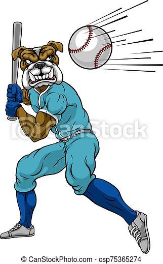 Bulldog Baseball Player Mascot Swinging Bat - csp75365274