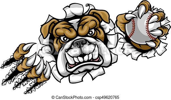 Bulldog Baseball Sports Mascot - csp49620765