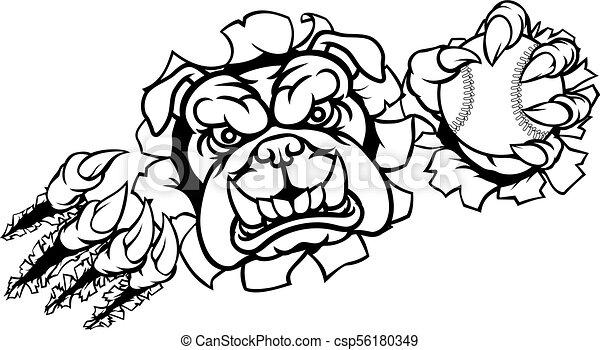 Bulldog Baseball Sports Mascot - csp56180349