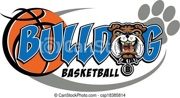 bulldog basketball mascot design - csp18385814