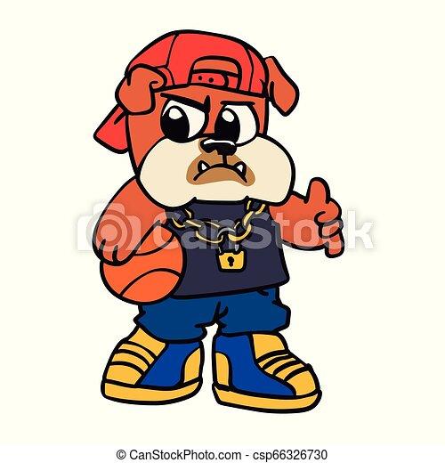 Bulldog basketball player cartoon - csp66326730