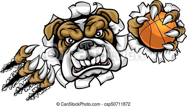 Bulldog Basketball Sports Mascot - csp50711872