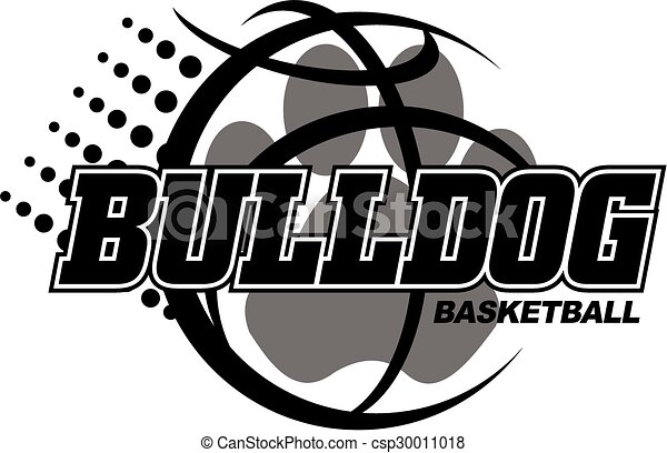 Line Design Clipart Free : Bulldog basketball design with paw vector clip art search