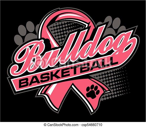 bulldog basketball with cancer ribbon - csp54660710