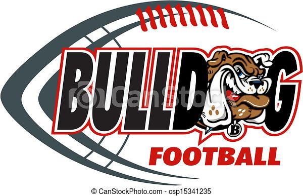 El fútbol de Bulldog con cabeza de mascota - csp15341235
