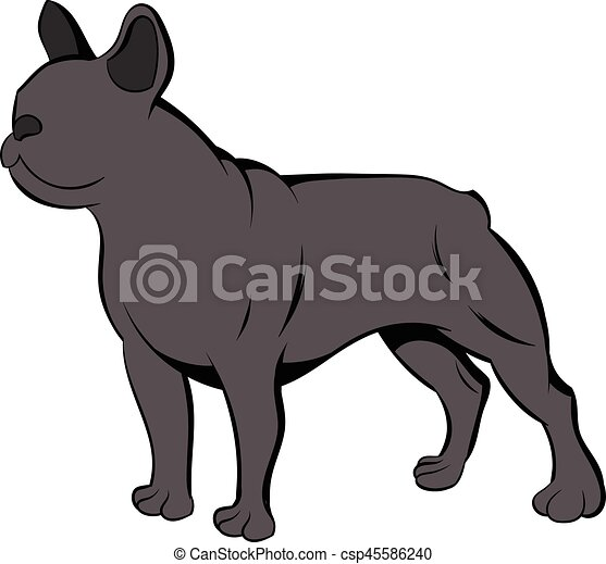 Bulldog cartone animato francese icona stile bulldog isolato