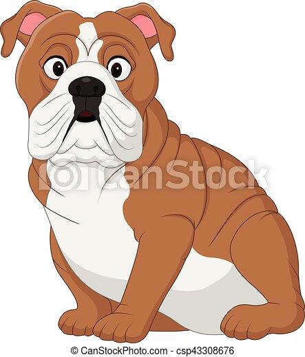 bulldog, cartone animato, seduta - csp43308676