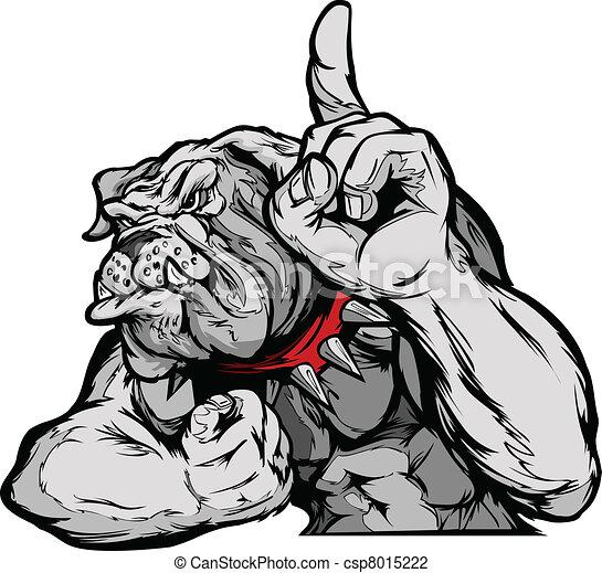 bulldog, corpo, vettore, cartone animato, mascotte - csp8015222