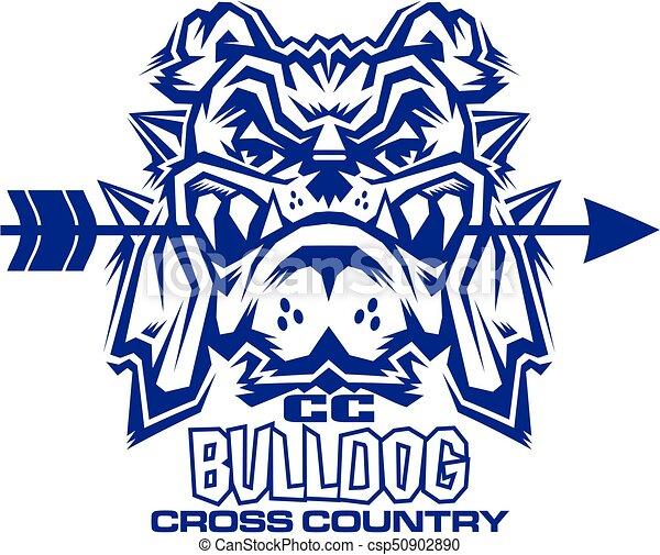 bulldog cross country team design with mascot biting arrow eps rh canstockphoto com Bulldog School Mascot Bulldog School Mascot