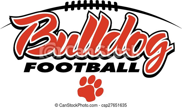 bulldog football design with laces and paw print