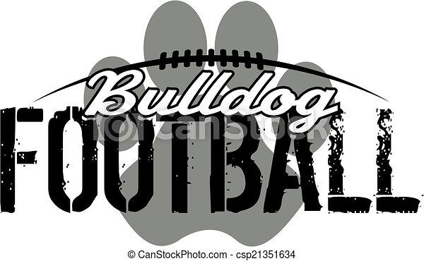 bulldog football with paw print - csp21351634