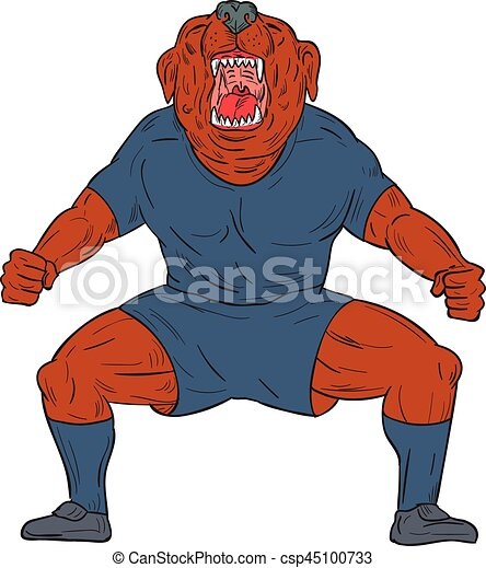 Bulldog Footballer Celebrating Goal Cartoon - csp45100733