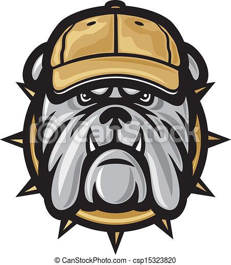 Bulldog head and baseball cap - csp15323820