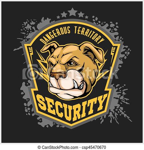 bulldog head mascot - security emblem. - csp45470670