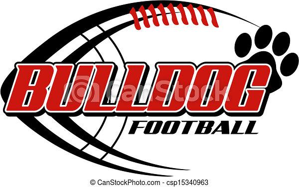 Fútbol Bulldog con huella de pata - csp15340963