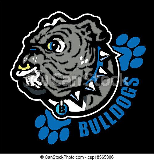 Un bulldog inglés con huellas de patas - csp18565306