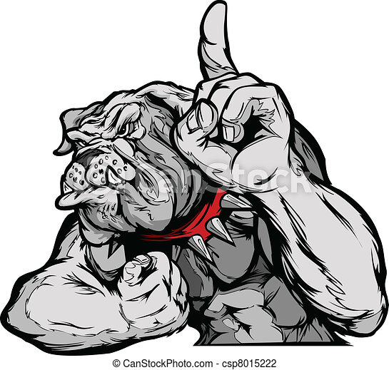 Bulldog Mascot Body Vector Cartoon - csp8015222