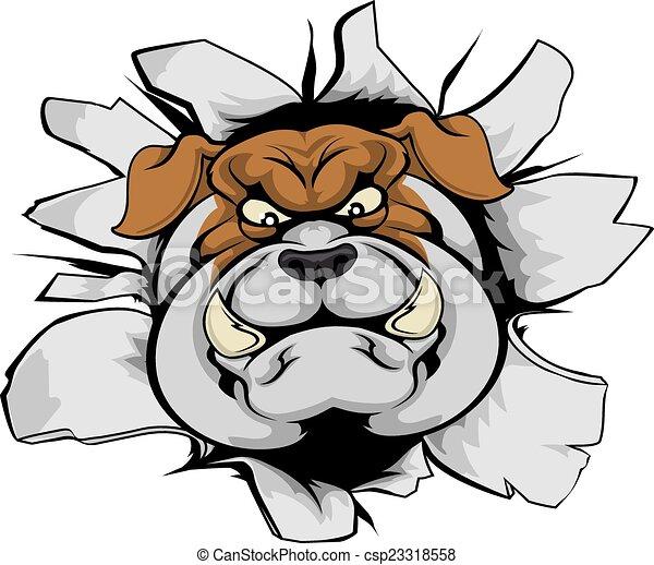 Bulldog mascot smashing out - csp23318558