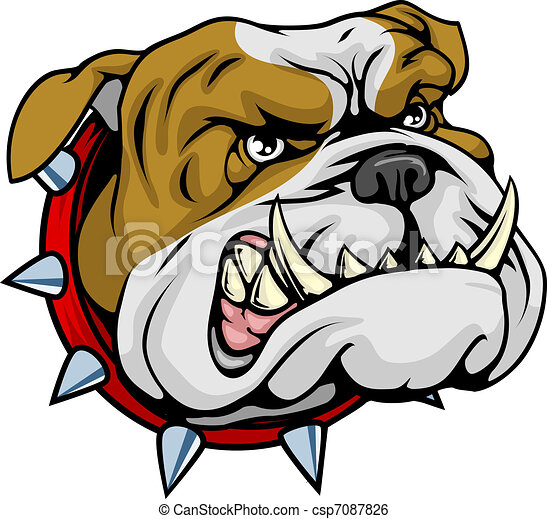 bulldog, media, illustrazione, mascotte - csp7087826