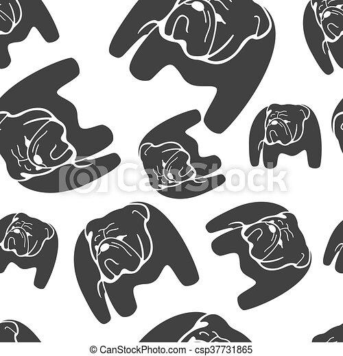 El vector del monocromo de Bulldog no tiene ningún patrón. - csp37731865