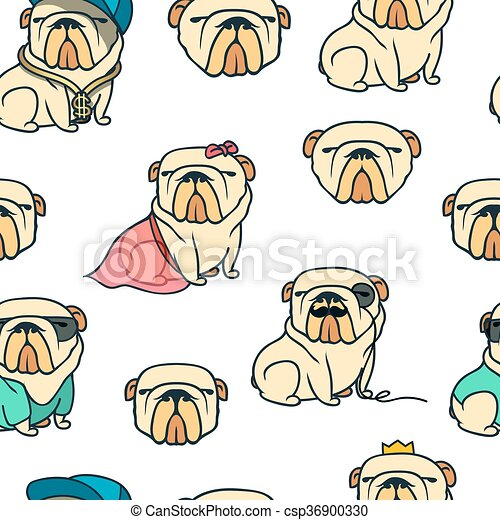 Patrón de bulldog inglés sin costura - csp36900330