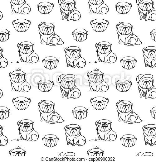 Patrón de bulldog inglés sin costura - csp36900332