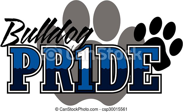 bulldog pride design with large paw print in background clip art rh canstockphoto com free bulldog clipart images free bulldog pictures clip art