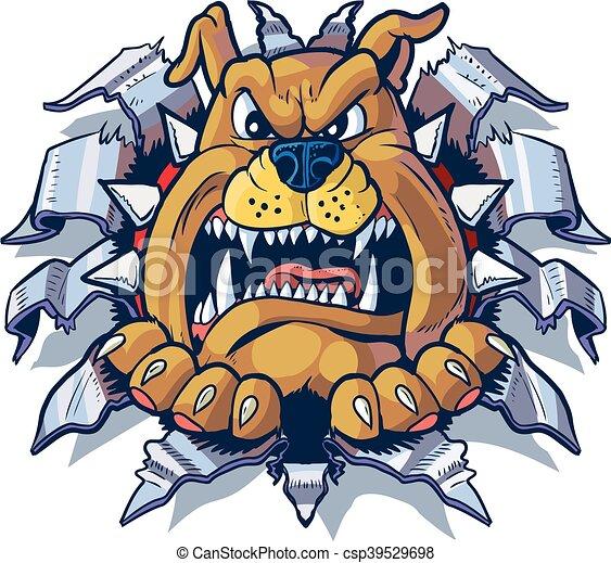 Bulldog Ripping Metal Background - csp39529698