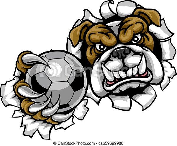 Bulldog Soccer Football Mascot - csp59699988