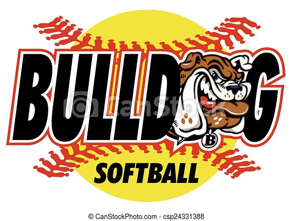 bulldog softball design with mascot and red stitches vector search rh canstockphoto ca  softball logo clipart