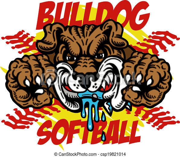 bulldog softball with bulldog mascot and red stitches rh canstockphoto com