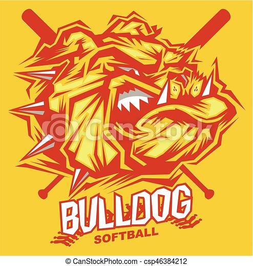 bulldog softball - csp46384212