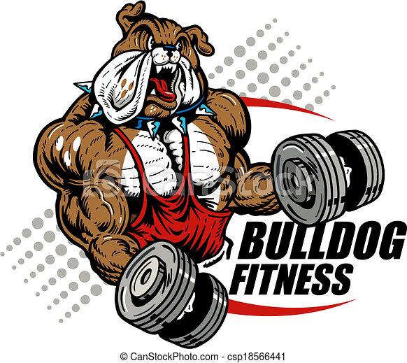 bulldog with dumbbells - csp18566441