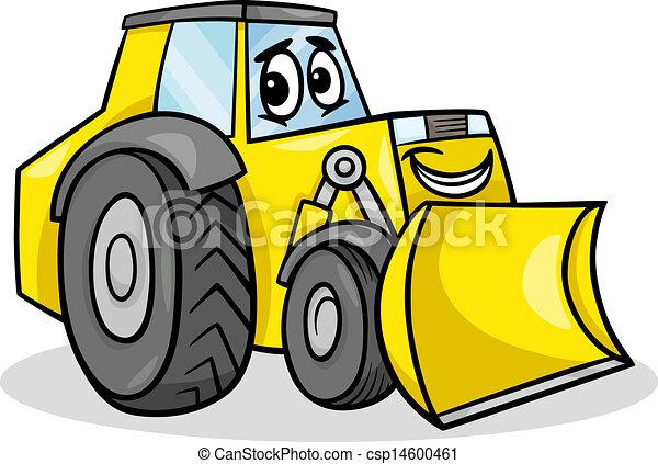 bulldozer character cartoon illustration - csp14600461