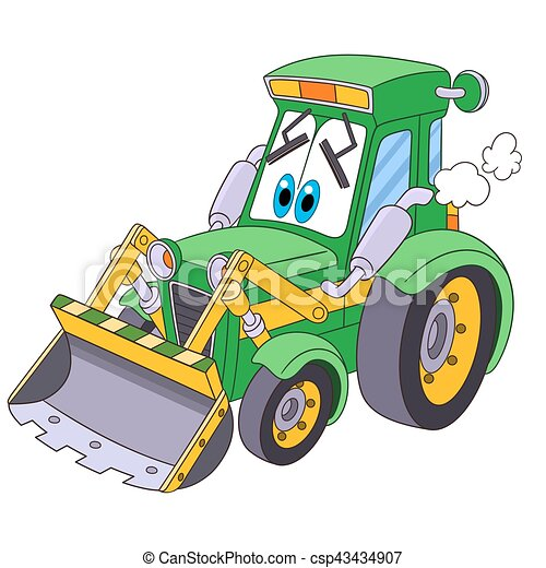Bulldozer dessin anim tracteur bulldozer transport vecteur color pu ril isol - Dessin anime avec tracteur ...