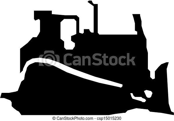 Bulldozer vector black silhouette - csp15015230