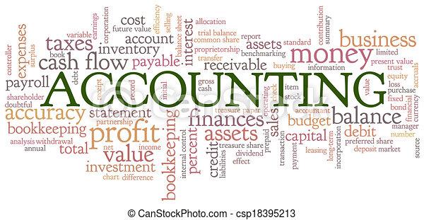 bulle, comptabilité, mot, nuage, étiquettes - csp18395213