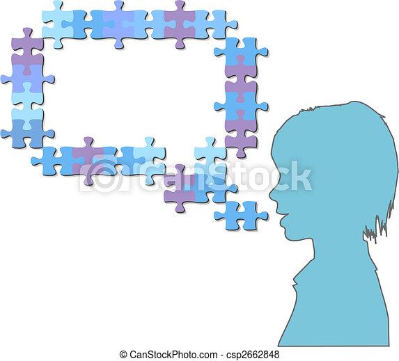bulle, girl, puzzle, pourparlers, morceaux denteux, parole - csp2662848