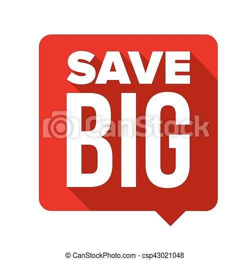 bulle, grand, vecteur, parole, sauver - csp43021048