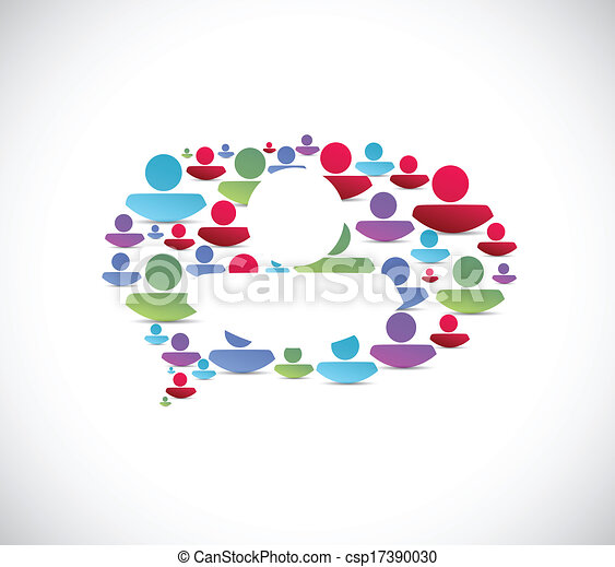 bulle, message, conception, illustration, gens - csp17390030