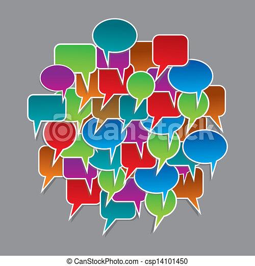 bulles, ensemble, parole, coloré - csp14101450