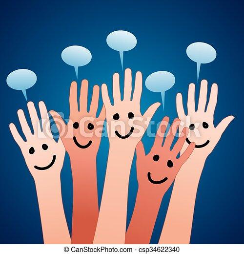 bulles, heureux, parole, mains - csp34622340