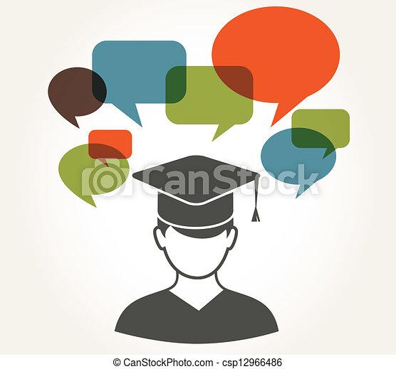 bulles, parole, étudiant - csp12966486