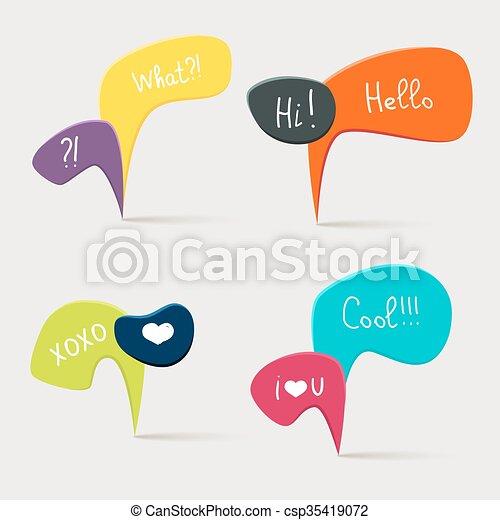 bulles, parole, coloré, questions - csp35419072