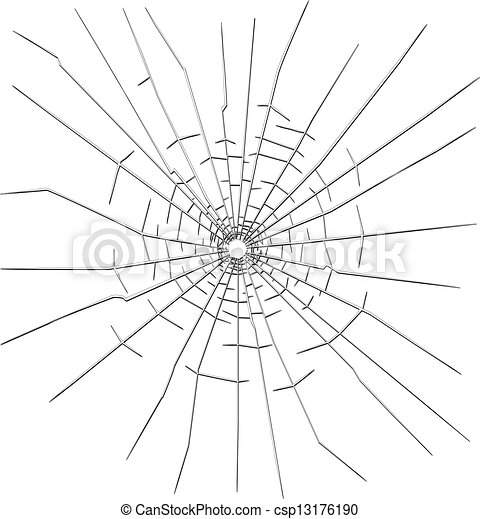 Bullet hole in glass - csp13176190