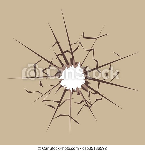 Bullet hole in material - csp35136592