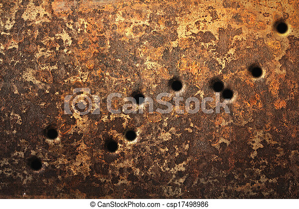 Bullet Holes Background Rusty Metallic Surfaces