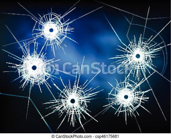 Bullet Holes In Glass Illustration - csp46175681